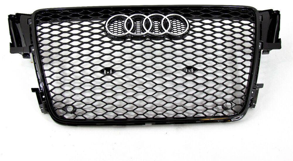 audi a5 s5 rs5 style front grille gloss black mesh ti 07. Black Bedroom Furniture Sets. Home Design Ideas