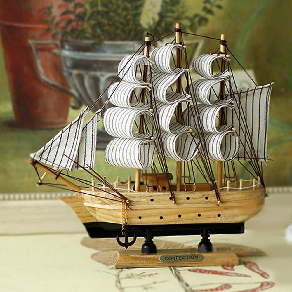 "Boat Home Decor: Model Ship 6"" Wooden Sailboat Handcrafted Wooden Sailing"