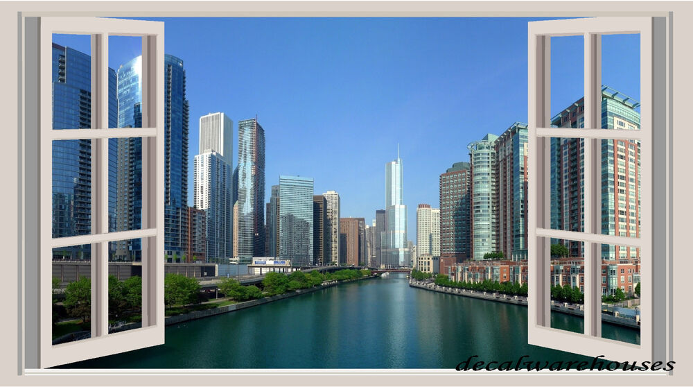 Chicago landscape window view repositionable color wall for Chicago wall mural
