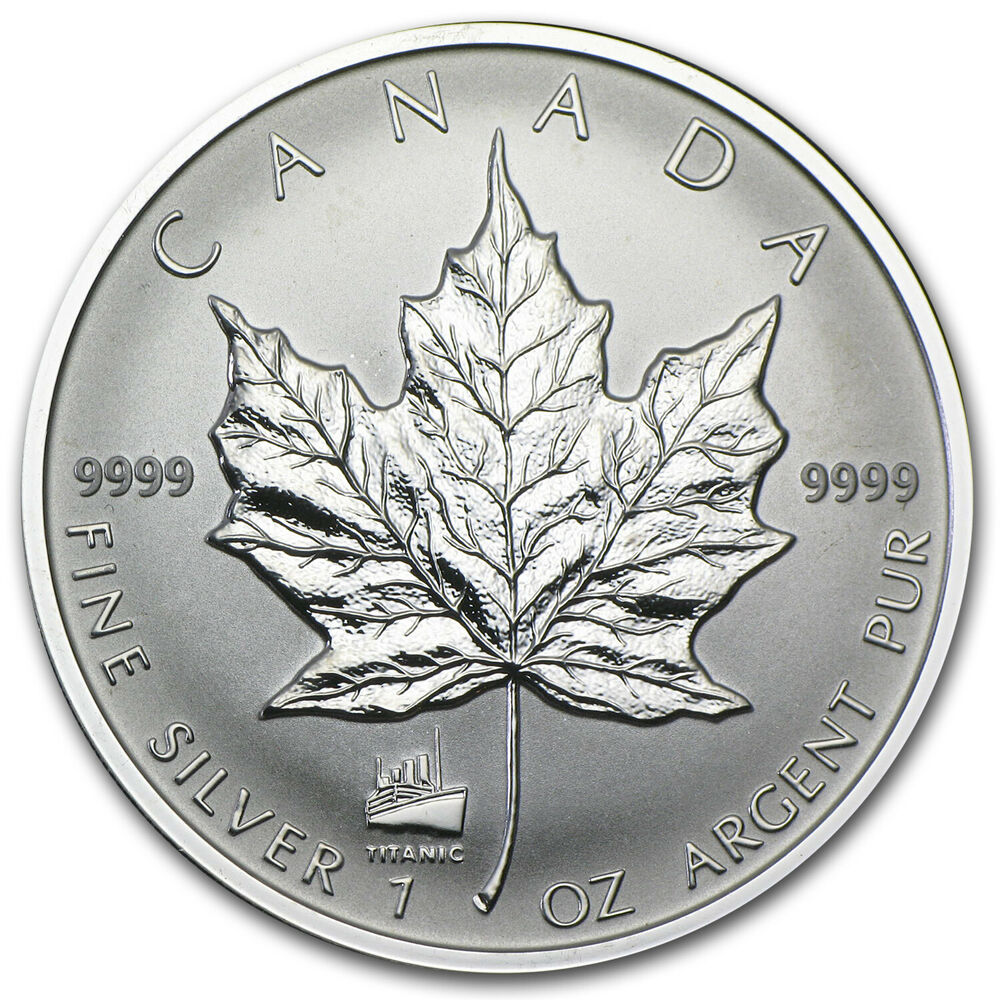 1998 Canada 1 Oz Silver Maple Leaf Titanic Privy Sku