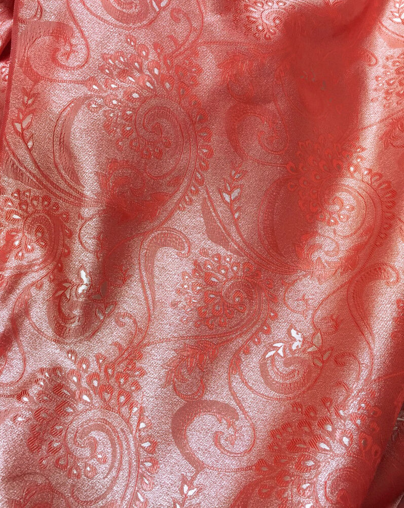 Paisley Brocade Faux Silk Shantung Fabric Red Silver 36 Quot W