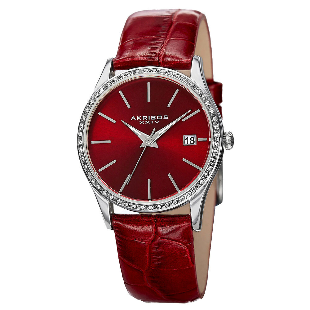 Women 39 s akribos xxiv ak883rd swarovski crystal bezel red leather strap watch ebay for Crystal watches