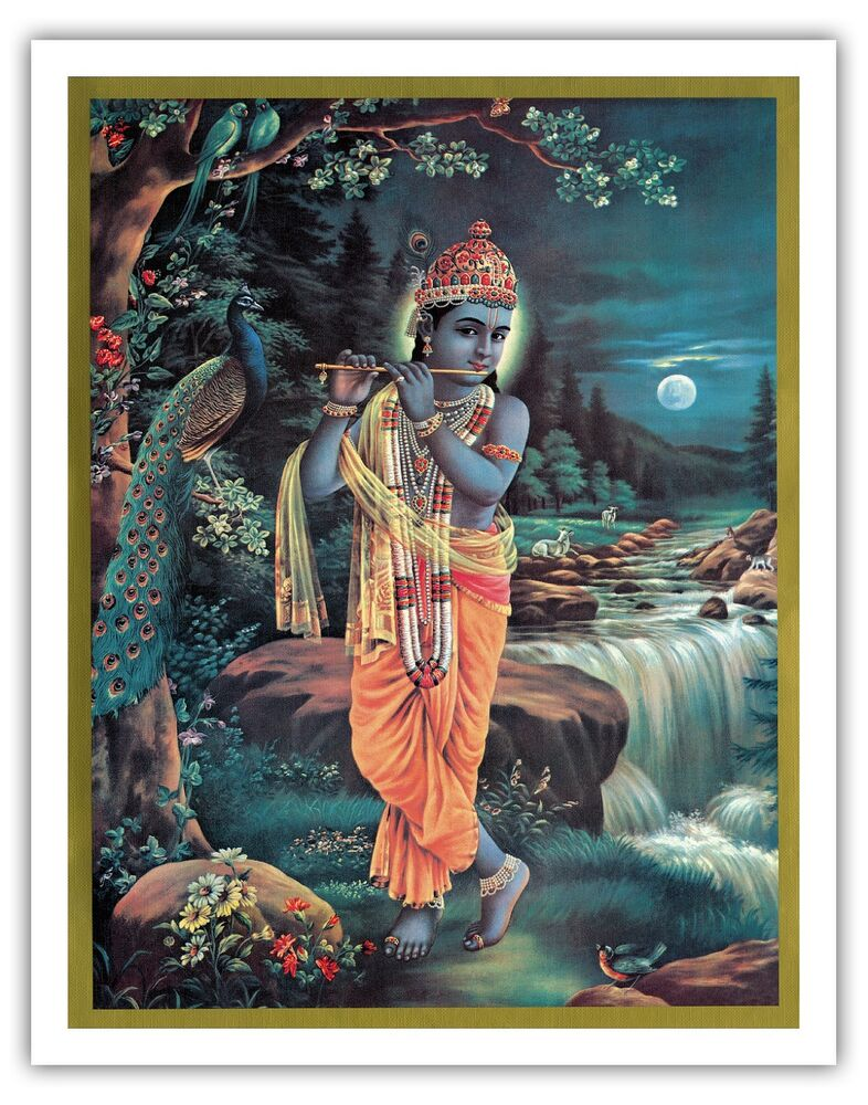 Lord Krishna Enchanter God Love Flute Vintage Religious ...