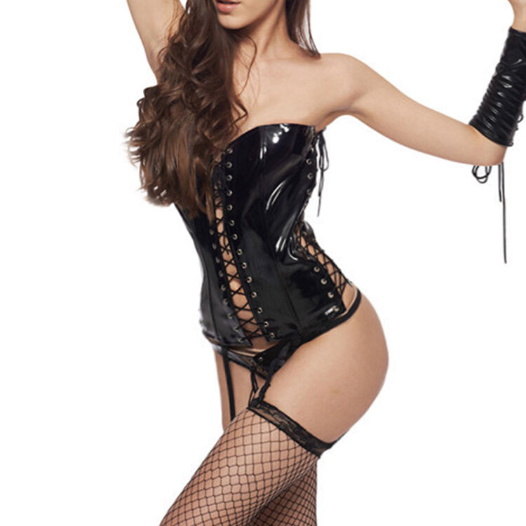 Sexy black leather corset