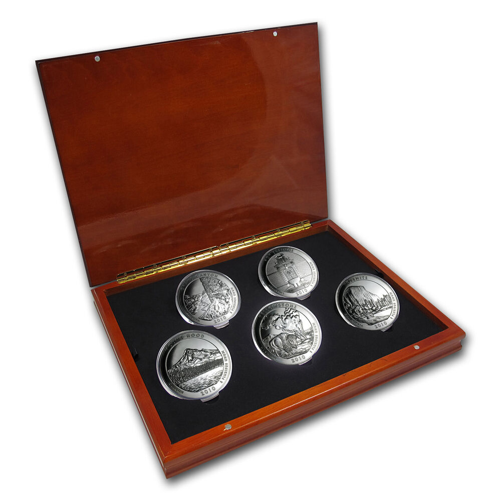 2010 5 Oz Silver Atb Complete 5 Coin Set With Display