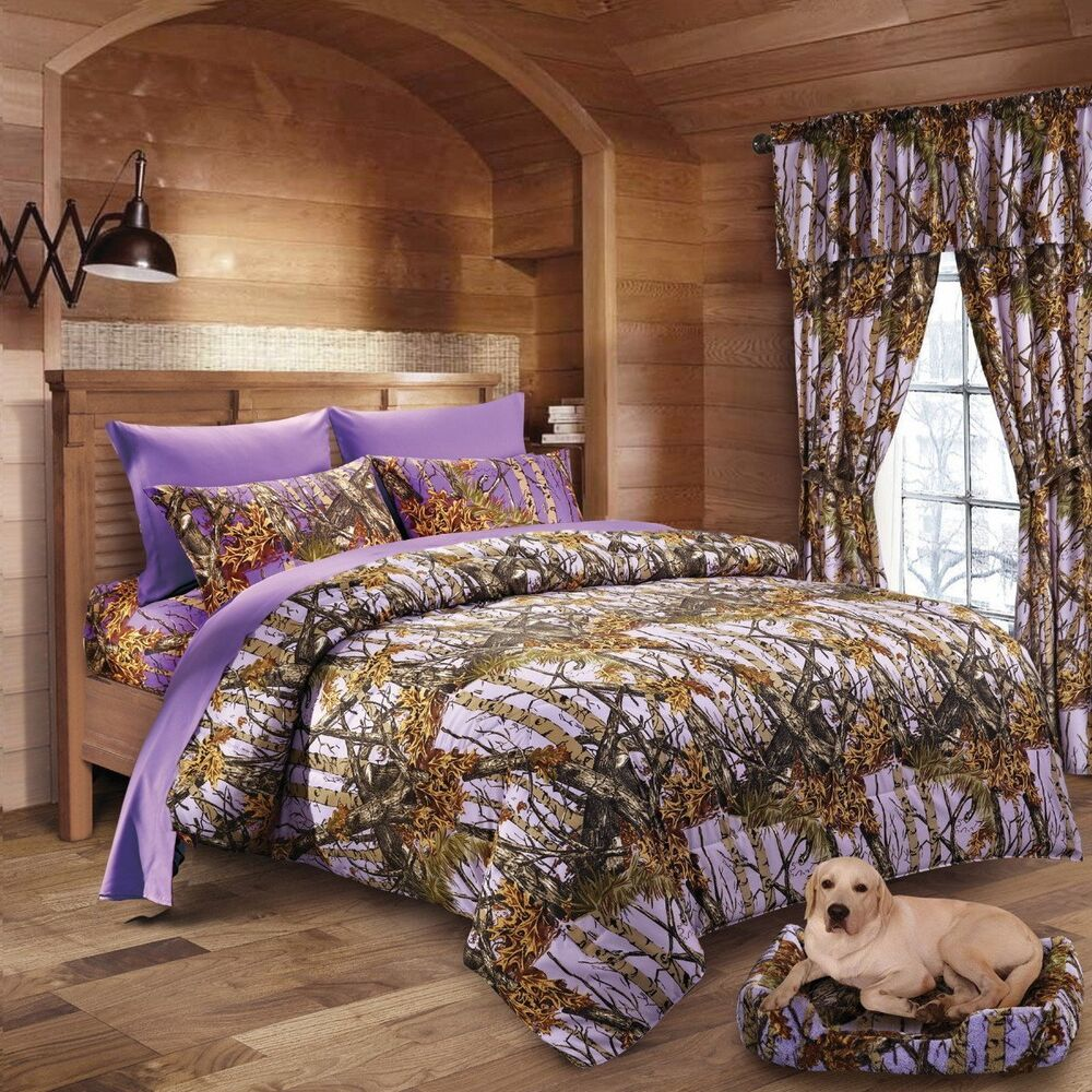 7 Pc Lavender Camo Comforter And Sheet Set Full Camouflage