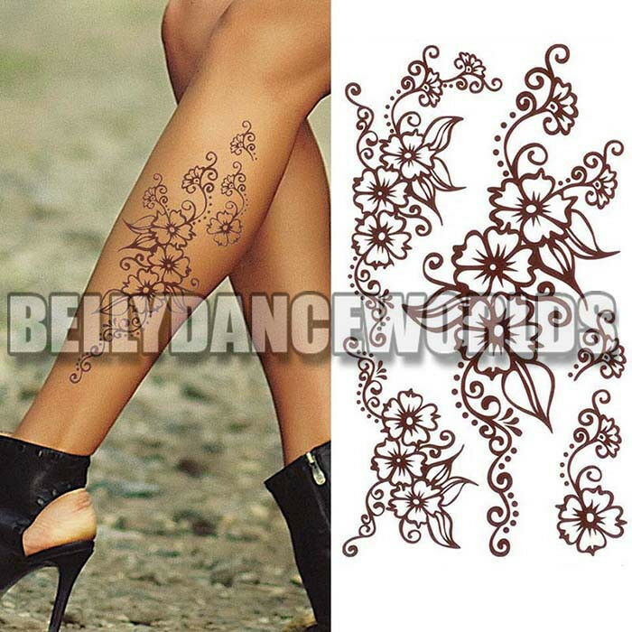 Brown henna style floral flower temporary tattoo arm leg for How to get fake tattoos off