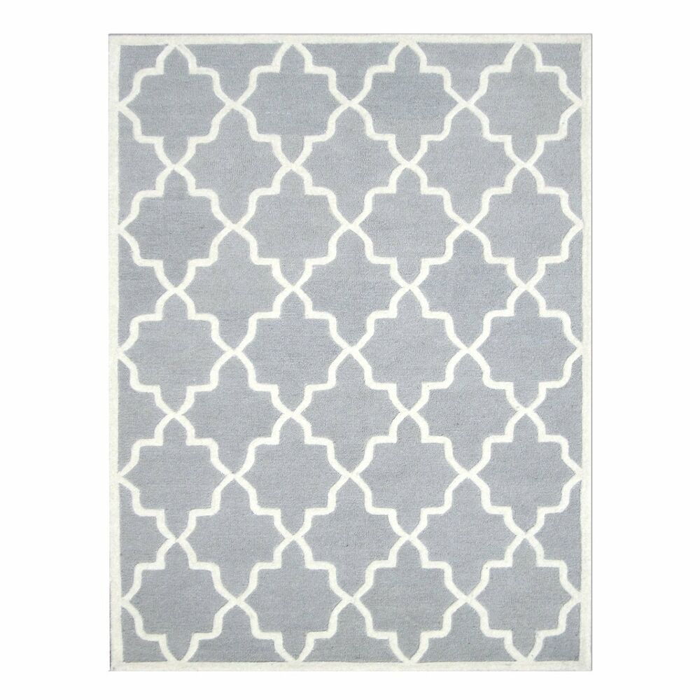 Light Grey And Ivory Hand Tufted Area Rug 100 Natural