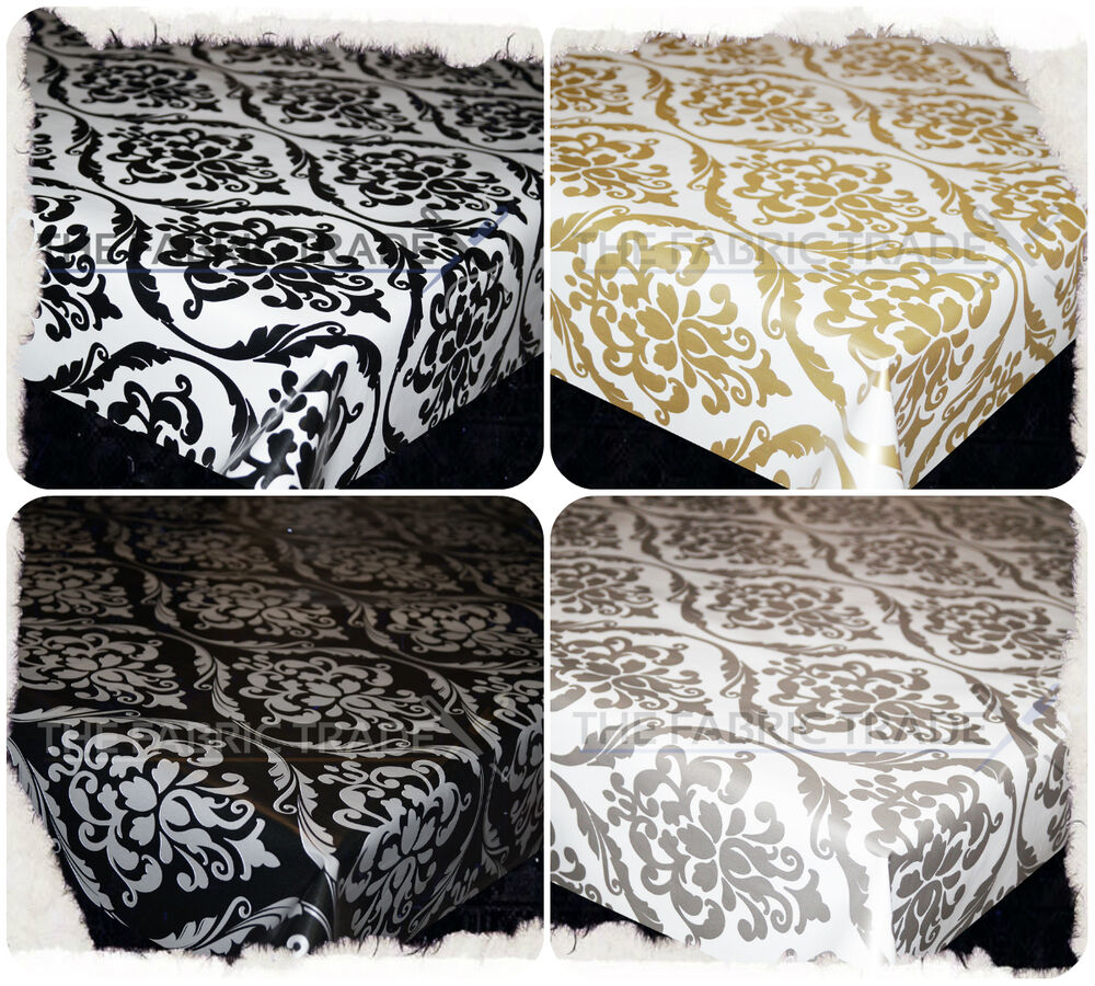 Wipe Clean Modern Damask Pvc Tablecloth Oilcloth Vinyl
