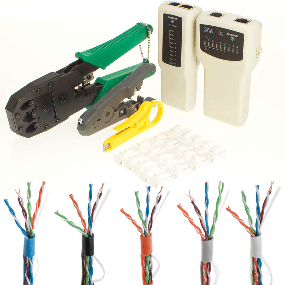 Cat5e 500ft 1000ft Cable Tester Crimper 20 Rj45 Connector