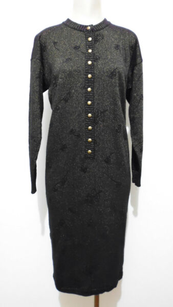 KRIZIA VINTAGE '80 Abito Vestito Donna Lurex Lana Woman Wool Dress Sz.L - 46