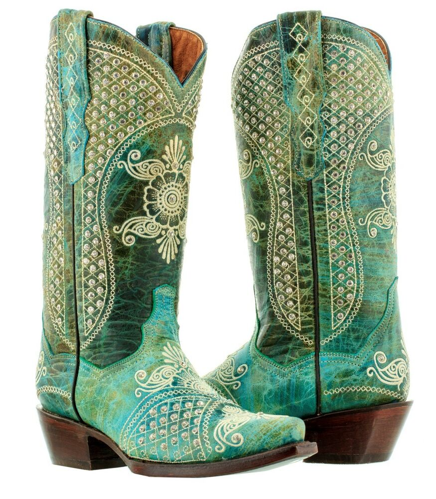 Wedding Cowgirl Boots: Womens Turquoise Distressed Leather Rhinestones Western