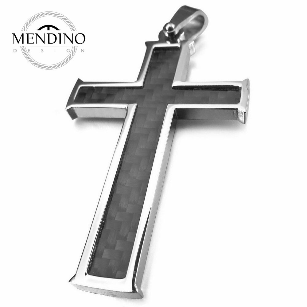 Mendino Men S Stainless Steel Pendant Necklace Carbon