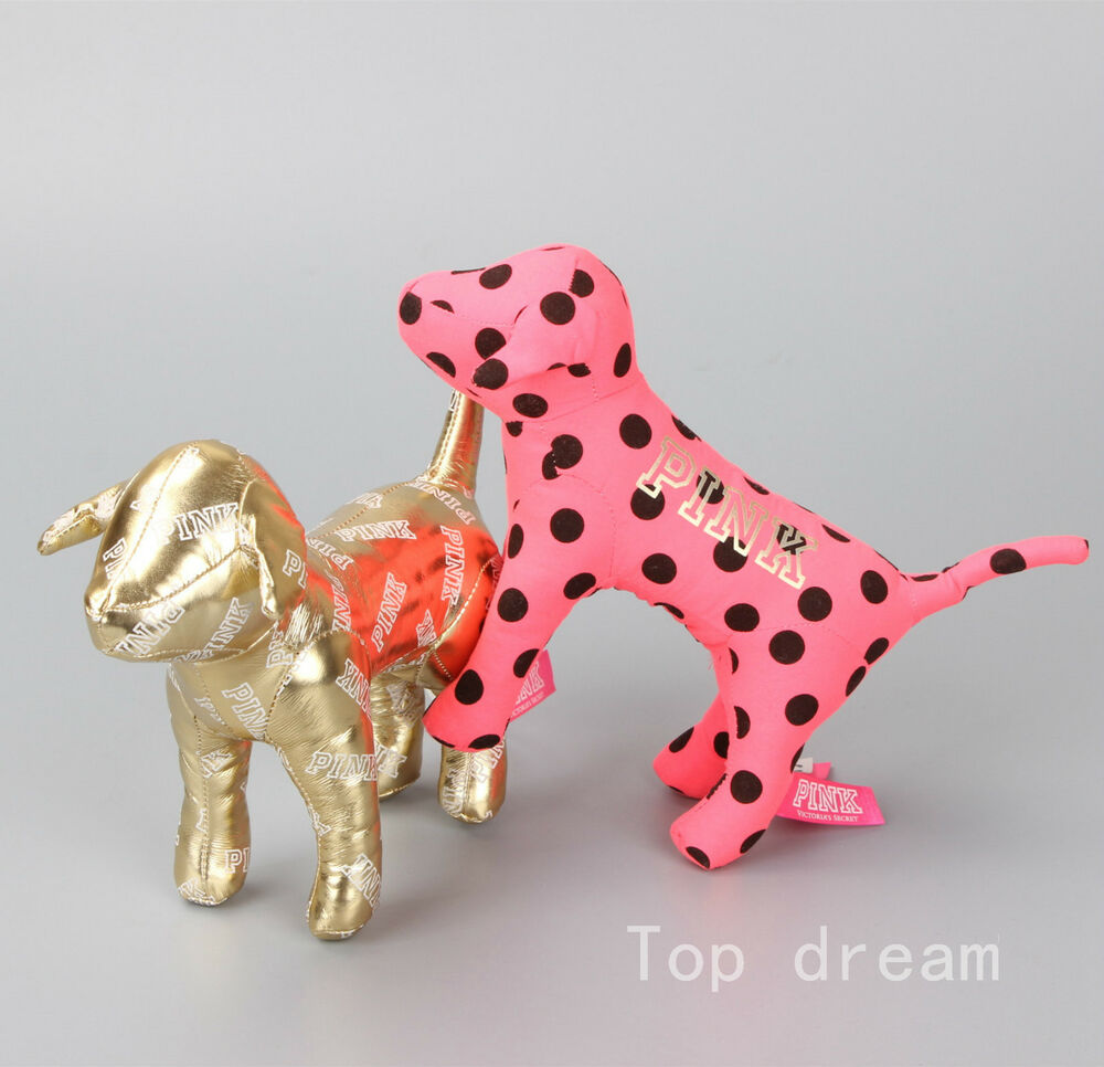 Victoria's Secrets Pink & Golden Dog Plush Toy Soft Doll