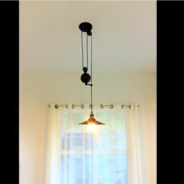 Vintage Edison Industrial Pulley Pendant Light Adjustable