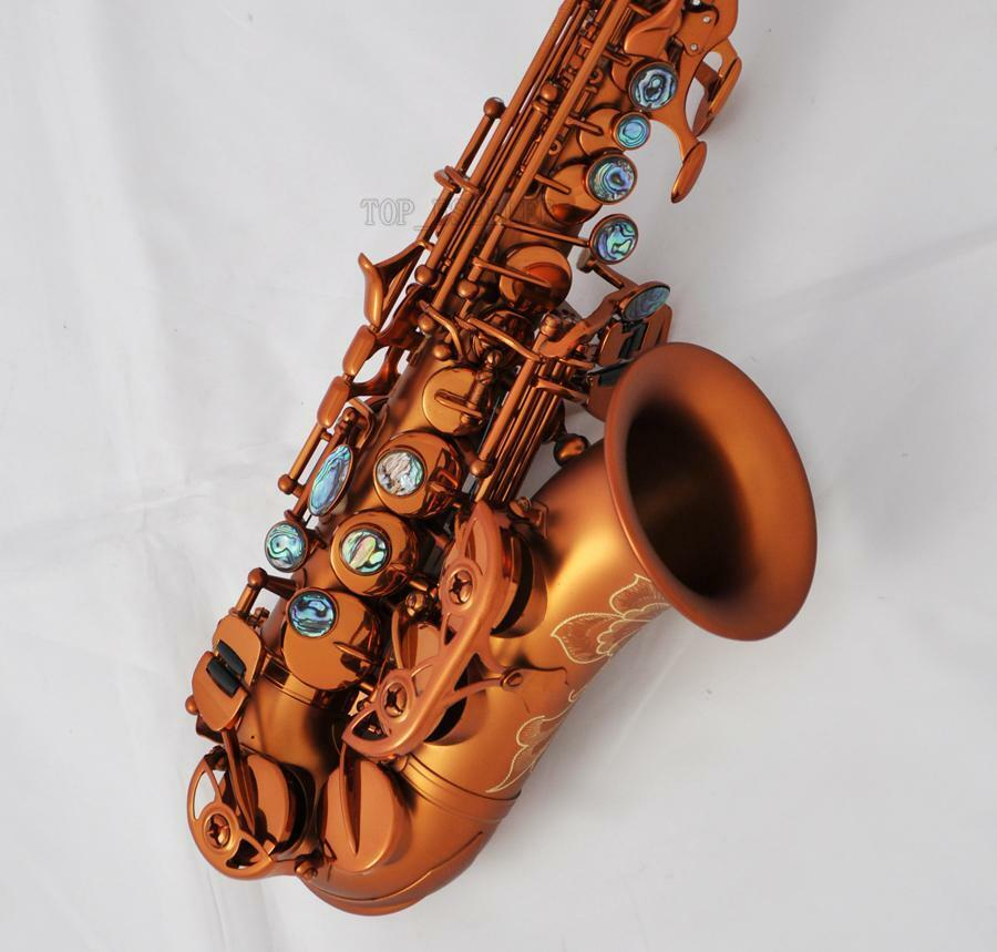 top matte coffee curved soprano saxophone bb sax abalone key engraved bell new ebay. Black Bedroom Furniture Sets. Home Design Ideas
