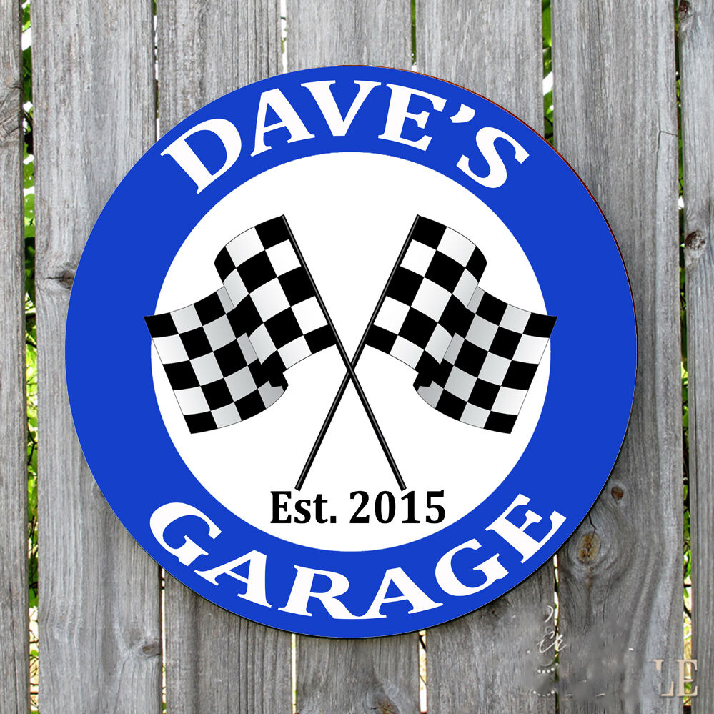 Personalized Garage Signs : Personalized round checker flag garage metal sign ebay