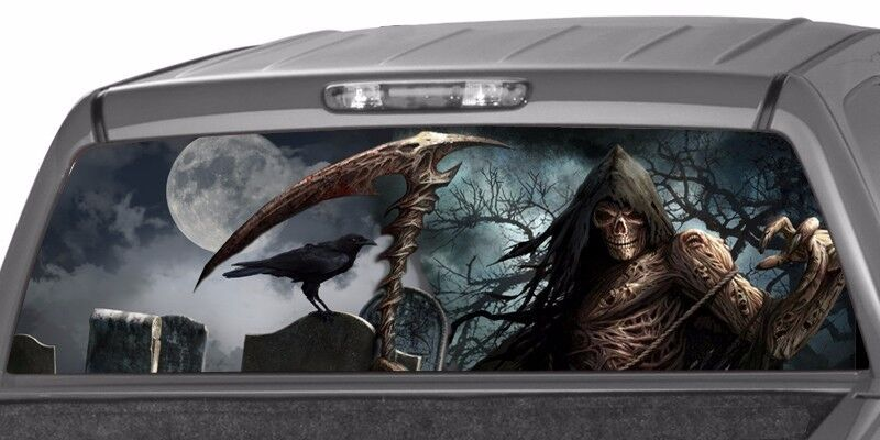 Grim Reaper Cemetery Craw Rear Window Graphic Decal Tint