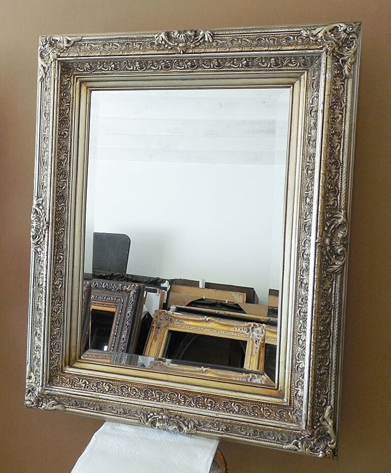 Large solid wood 25x33 rectangle beveled framed wall for Large wall mirror wood frame