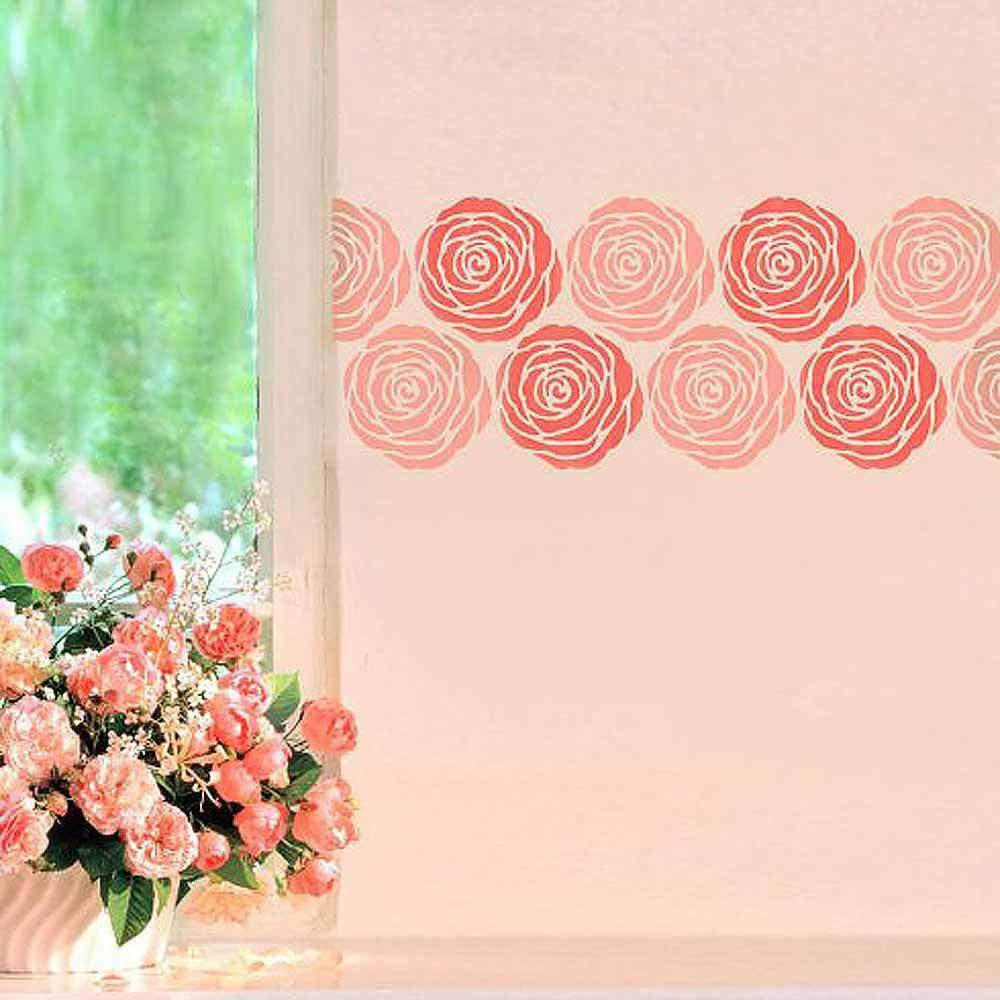 Rose stencil wall art small easy to use stencils for for Wall art templates free