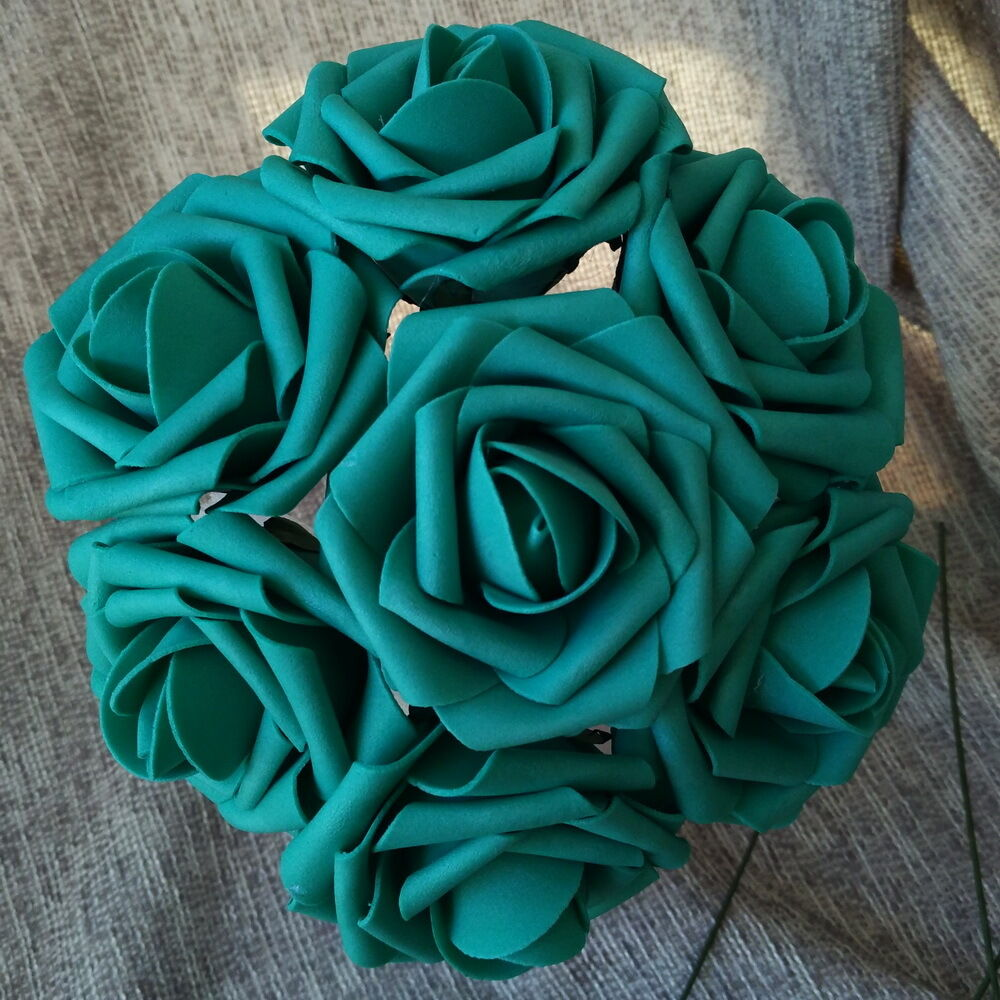 Turquoise Flowers For Wedding: 100 Teal Rose Fake Flowers Turquoise Flowers For Wedding