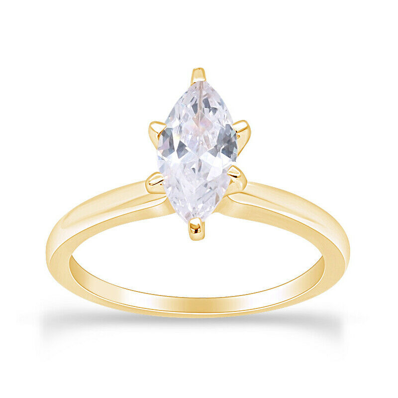 3 4ct Marquise Cut Solitaire Engagement Ring 14k Yellow