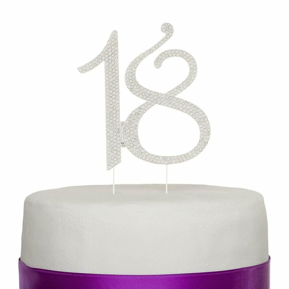 18 Cake Topper, 18th Birthday Party Silver Decoration