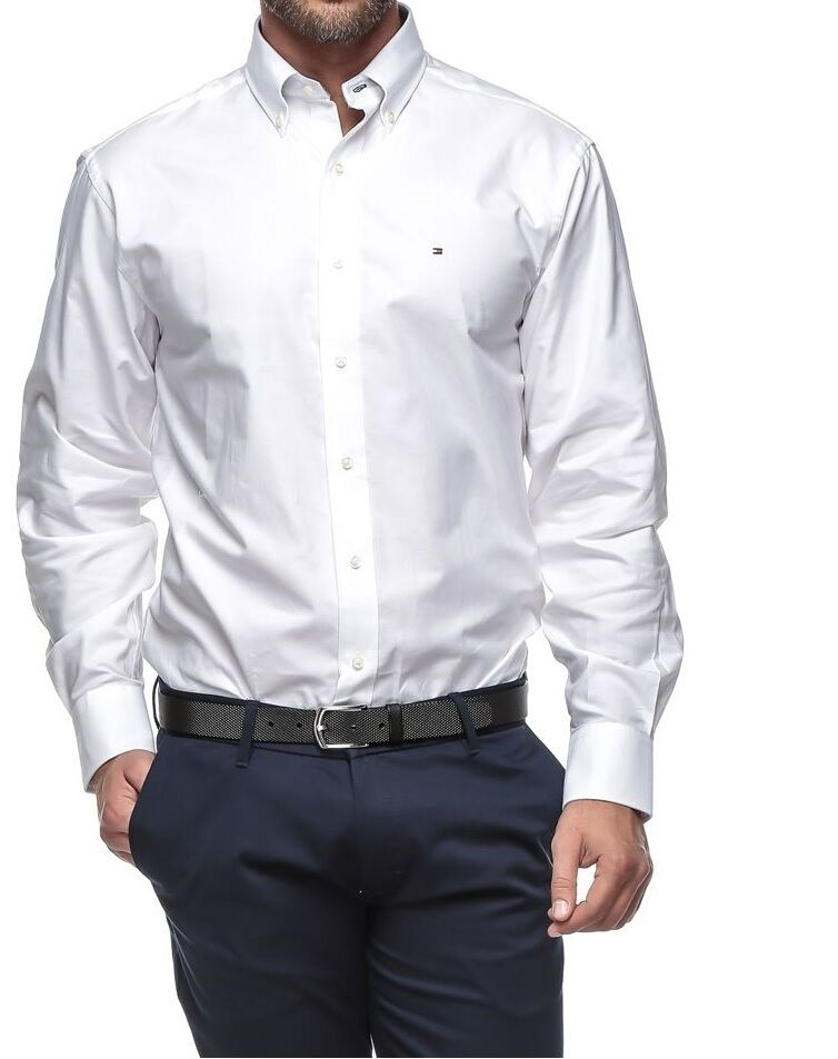 Tommy hilfiger men s 100 cotton solid dress shirt regular for Men s regular fit shirts