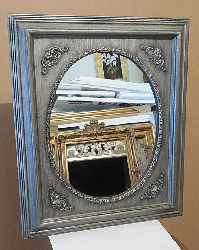 Large solid wood 17x20 rectangle oval framed wall mirror for Large wall mirror wood frame