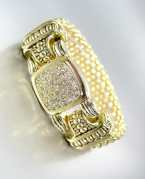 Classic Designer Style Gold Mesh Pave Cz Crystals Magnetic