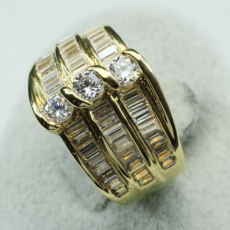18k yellow gold filled cz engagement wedding jewelry