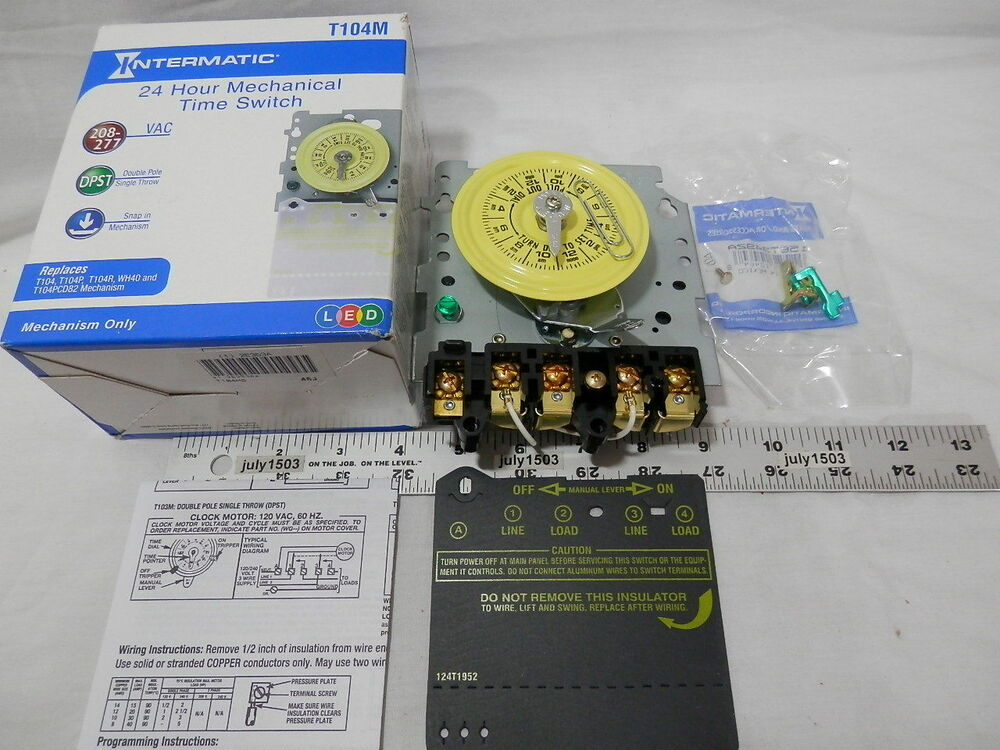 1 New Intermatic T104m Timer Mechanism 208 277 Volt Dpst