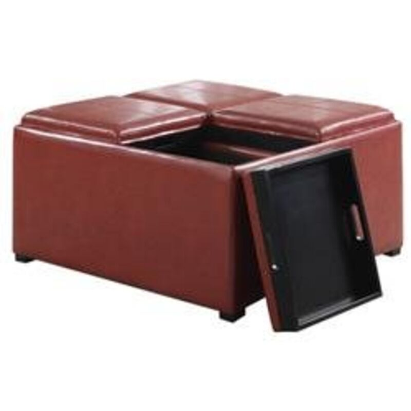 ... Coffee Table Storage Ottoman with 4 Serving Trays AY F 07 BL | eBay