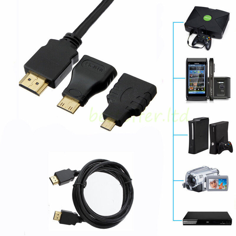 1080p 3in1 hdmi to hdmi mini micro adapter cable kit for tablet pc tv ps4 phone ebay. Black Bedroom Furniture Sets. Home Design Ideas