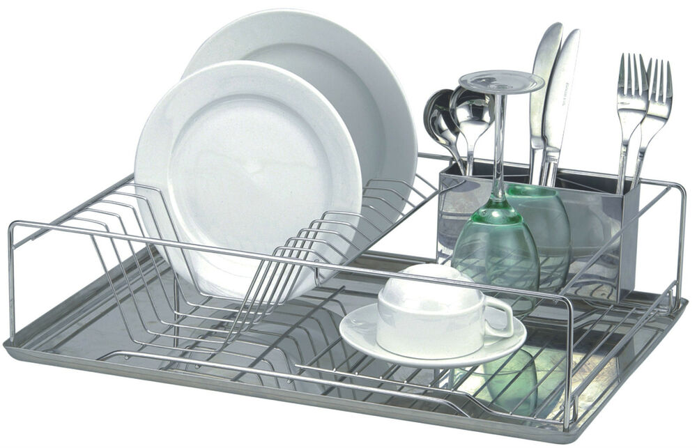 kitchen stainless steel dish drying rack cutlery drainer dryer tray ebay. Black Bedroom Furniture Sets. Home Design Ideas