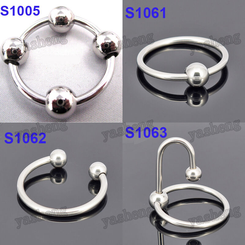 Mens Stainless Steel Penis Ring With Pressure Point Balls -7785