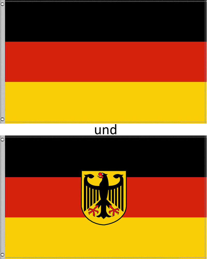 2 fahnen set deutschland fahne 90x150 mit adler hissfahne hissflagge flagge xl ebay. Black Bedroom Furniture Sets. Home Design Ideas