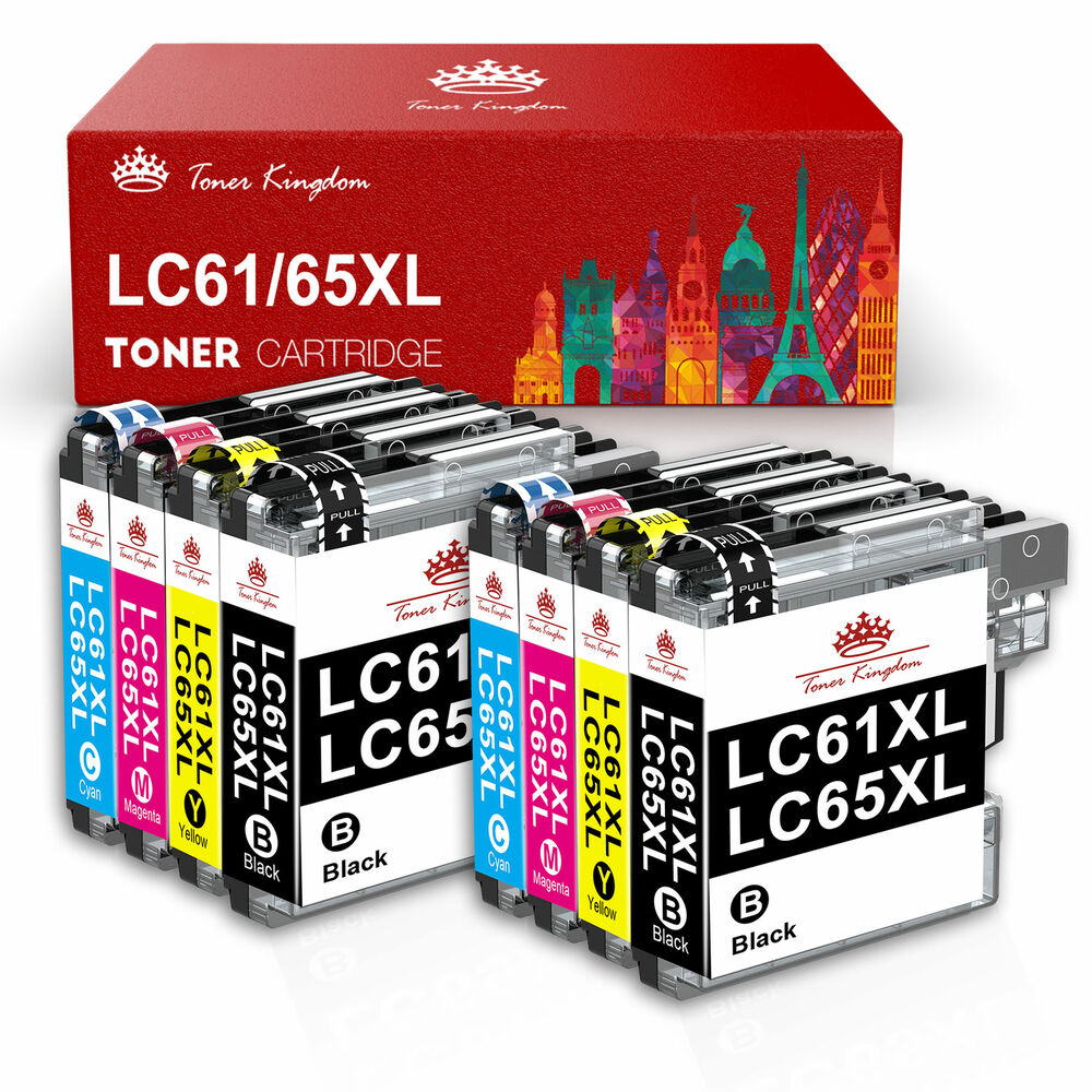 8 ink cartridge set lc65 lc61 lc67 for brother mfc 290c 295cn 495cw 490cw j615w ebay. Black Bedroom Furniture Sets. Home Design Ideas