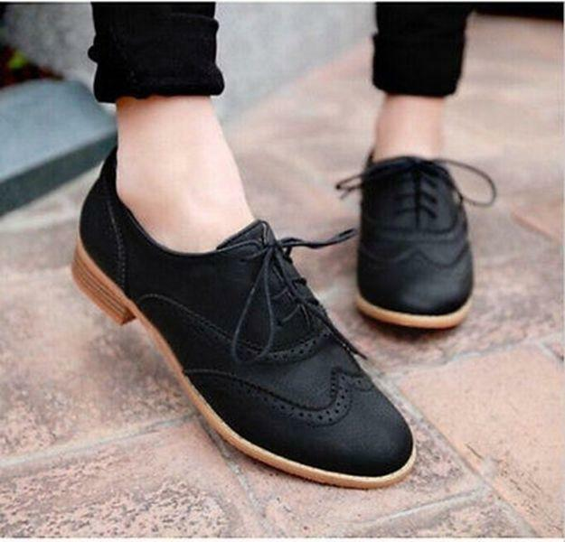 Black Lace Up Leather Low Heel Dress Shoes