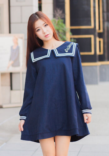Asian Japanese Girl Style Fashion Style Casual Cute Navy Sailor Uniform Dress Ebay