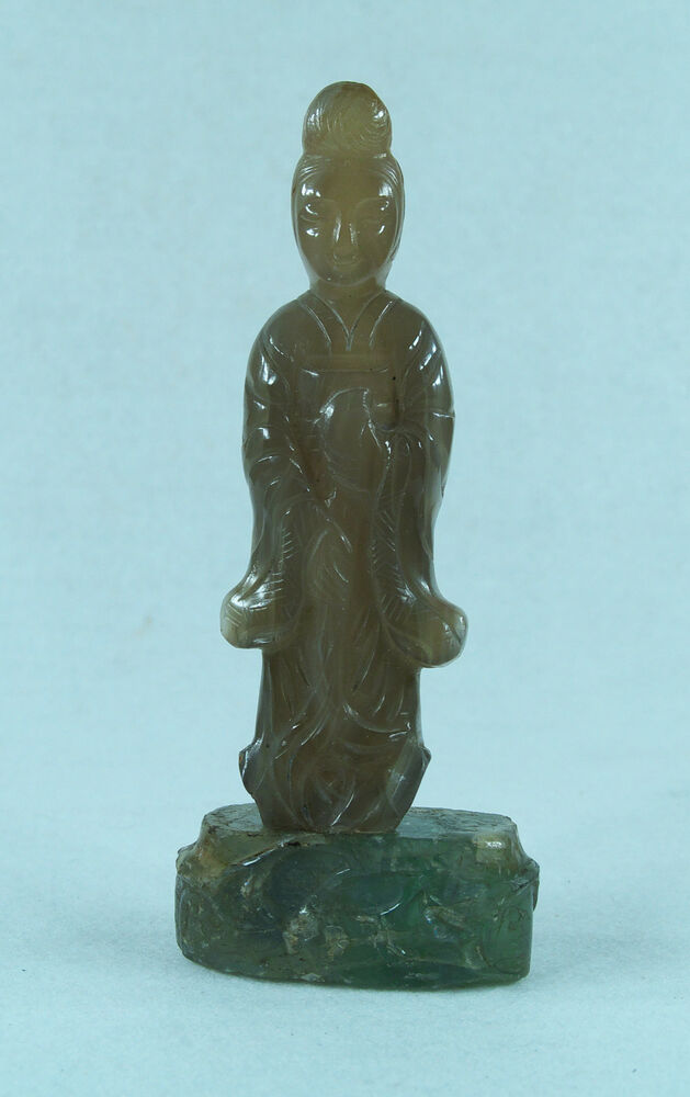 Chinese carved stone agate quan yin sculpture ebay