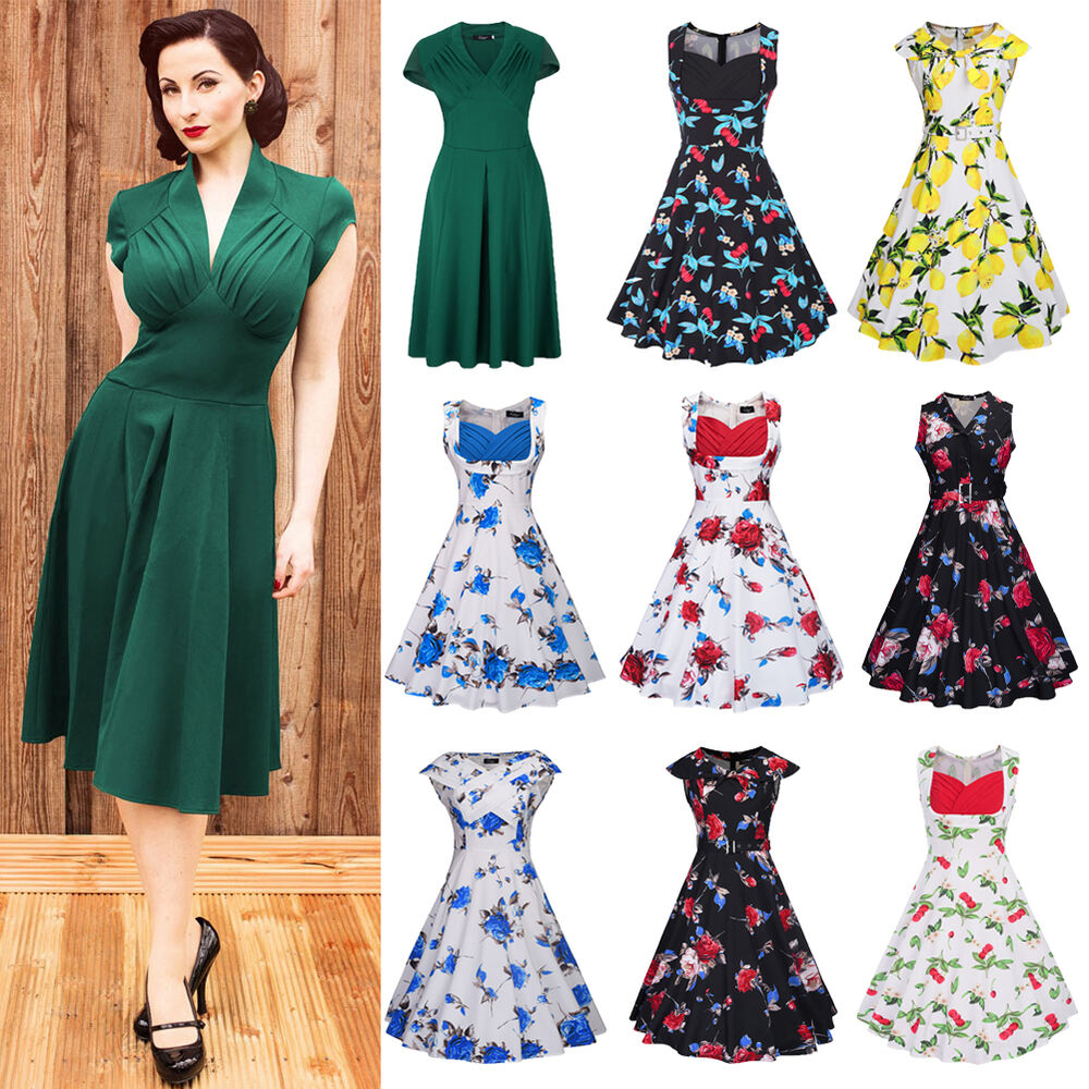 women vintage style retro 1940s rockabilly evening swing skaters tea dress skirt ebay. Black Bedroom Furniture Sets. Home Design Ideas