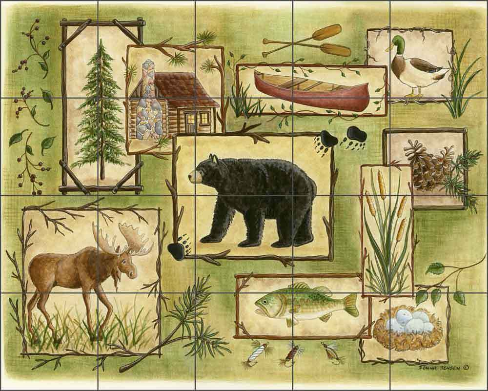 Ceramic tile mural backsplash jensen animal lodge art for Artwork on tile ceramic mural