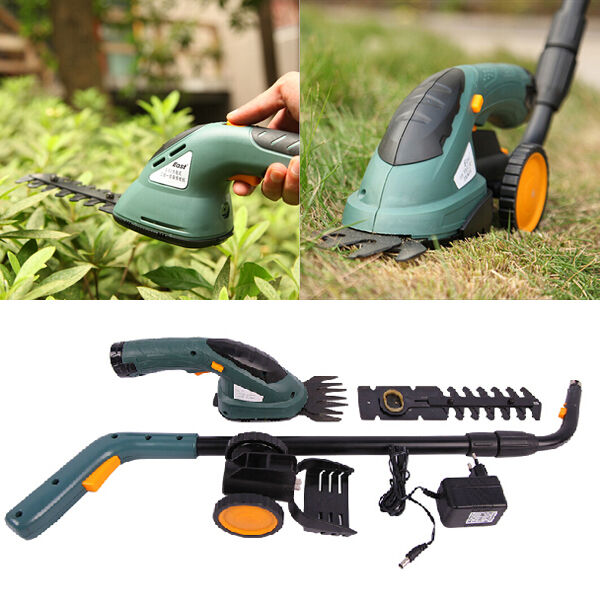 East 3 6v 2 in 1 electric cordless grass shear hedge for Hand held garden clippers