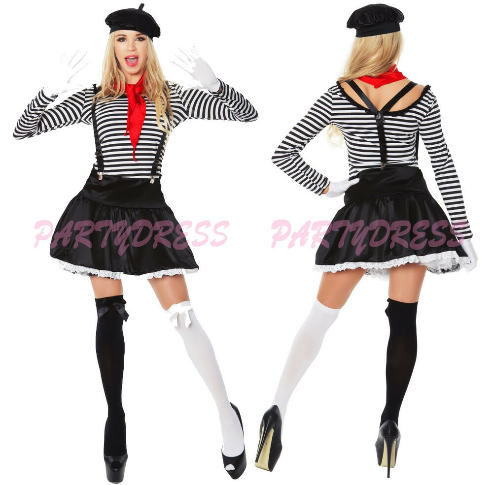 French Mime Costume Diy: OP 40 Ladies Costume Fancy Dress Mesmerizing Mime French