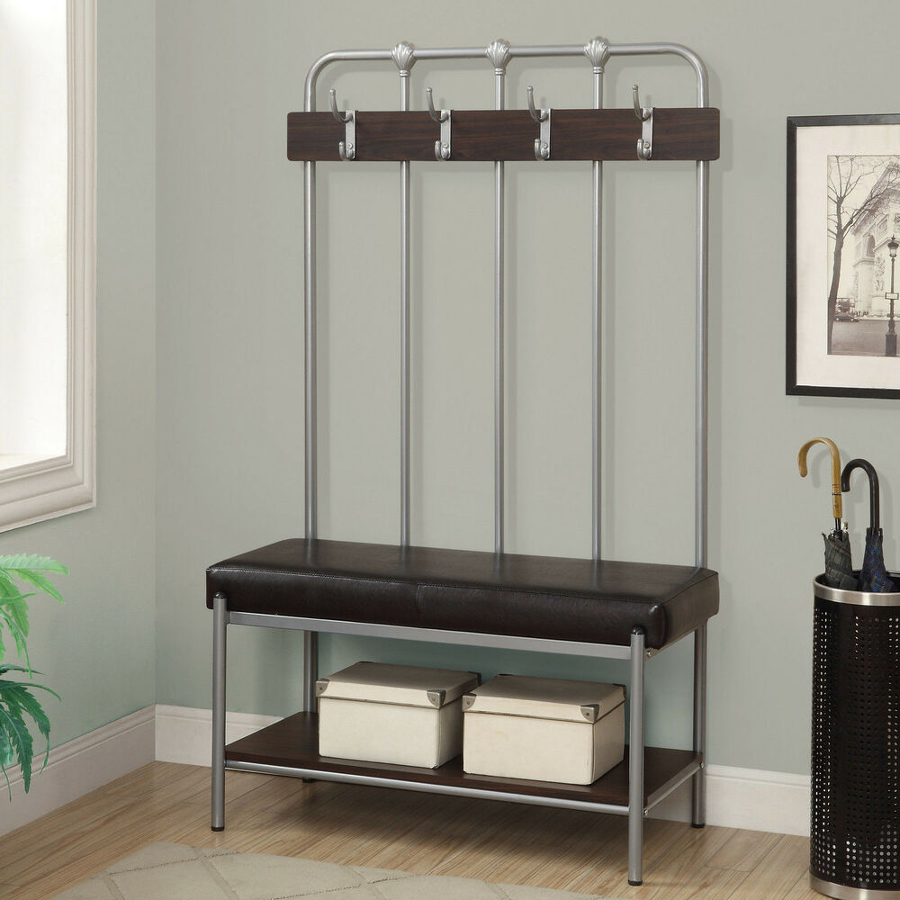 Storage Bench Seat Rack Hall Tree Coat Stand Furniture Silver Metal Entryway New Ebay