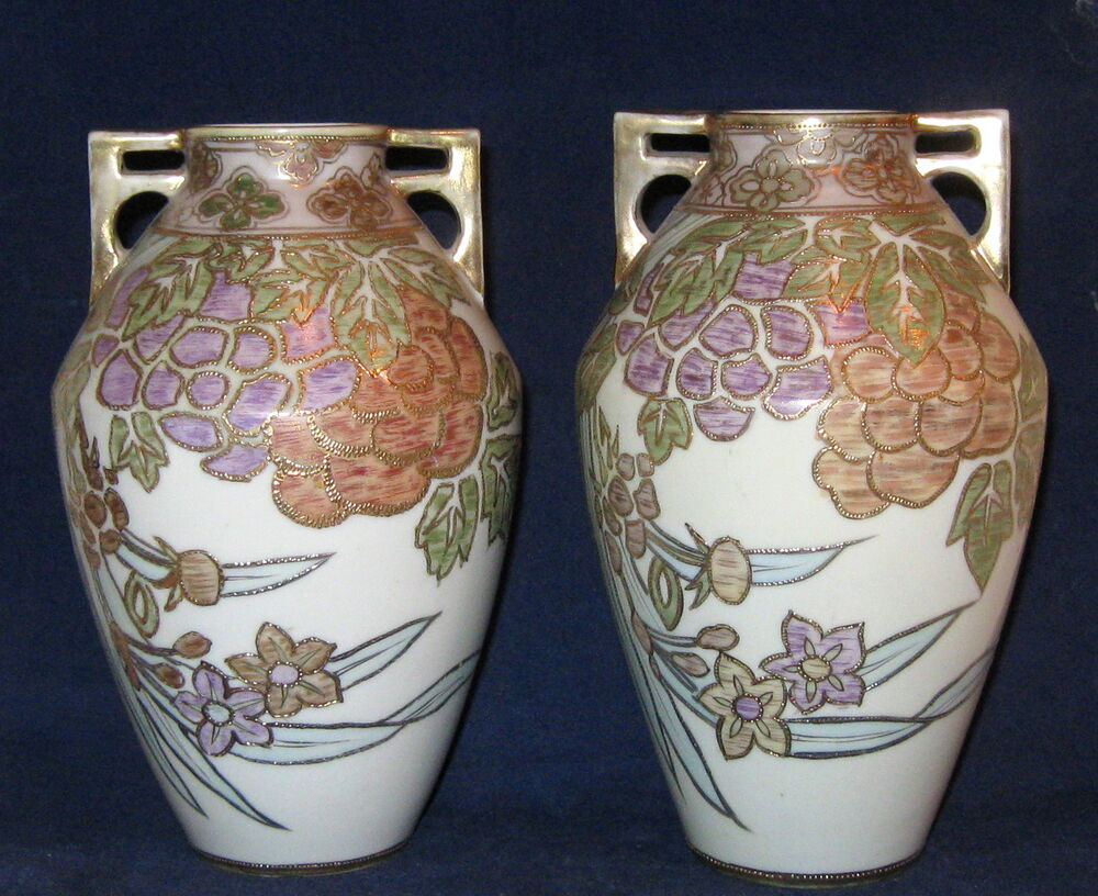 pair of nippon 8 art deco floral vase ebay. Black Bedroom Furniture Sets. Home Design Ideas