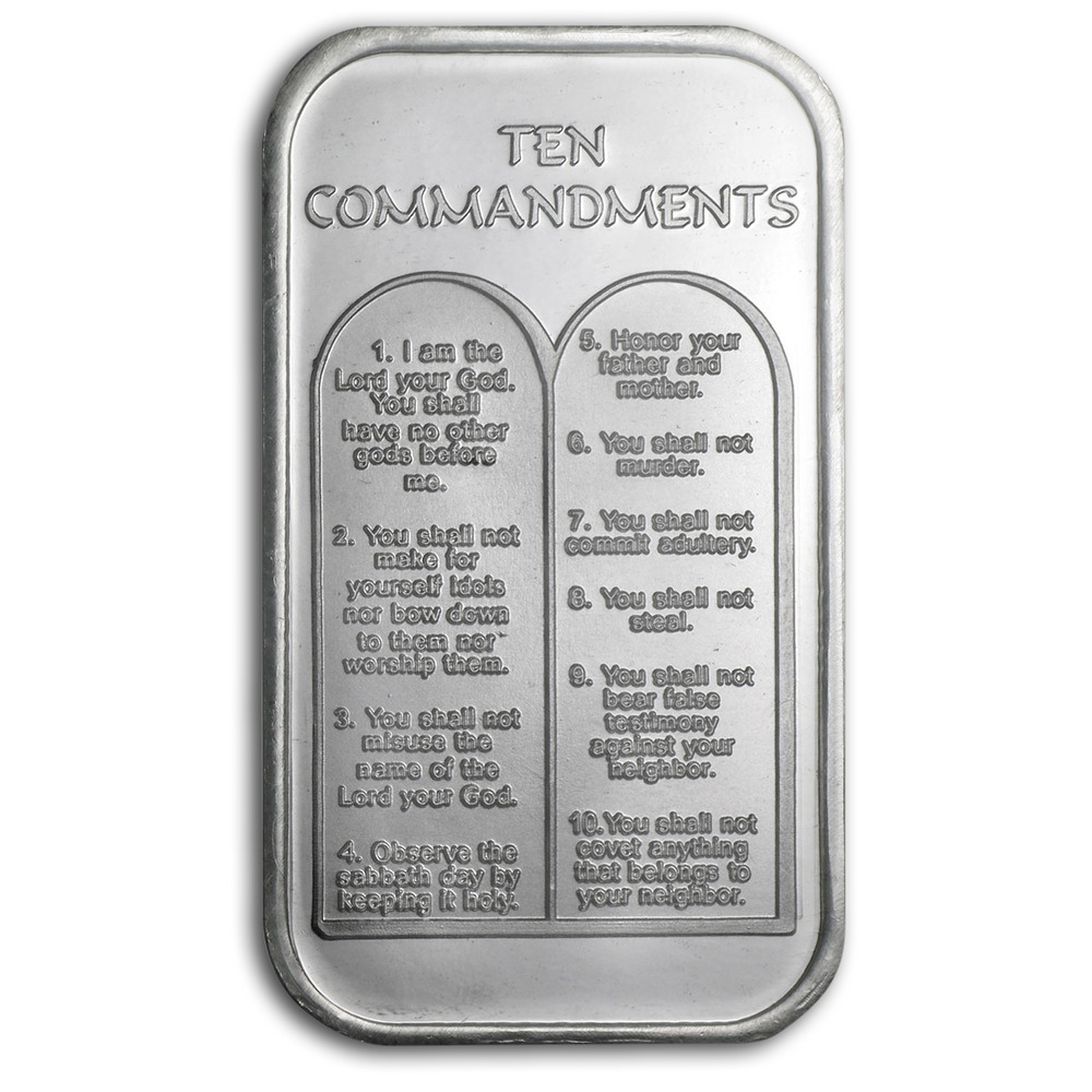 1 Oz Silver Bar Ten Commandments Hebrew Sku 64384