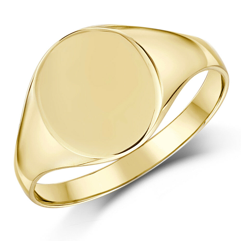 signet ring 9ct yellow gold oval shape ebay