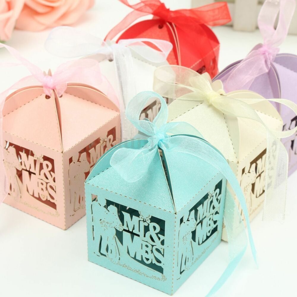 Gift Boxes For Weddings: Mr Mrs Love Heart Laser Cut Wedding Party Favor Ribbon